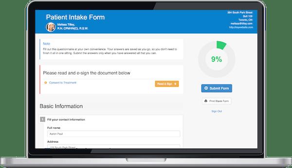 IntakeQ patient intake form