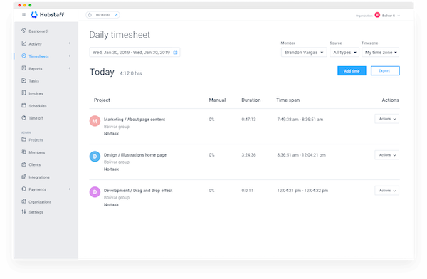 Hubstaff daily timesheet screenshot