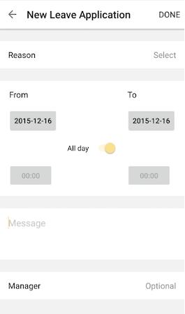Quinyx new leave applications screenshot