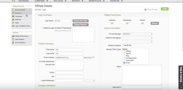 LinkTrust affiliate data management screenshot