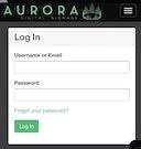 Aurora log in page