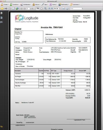 Logitude World invoice