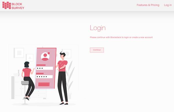 BlockSurvey login screenshot