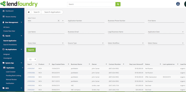 LendFoundry search tool