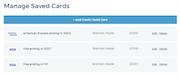 Manage cards