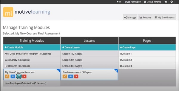 Motive LMS managing training modules