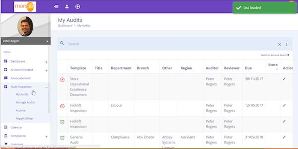 Mango QHSE compliance audits screenshot