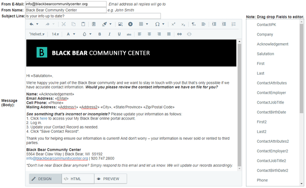 DonorSnap mass email screenshot