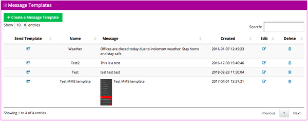 Mobile Text Alerts message templates