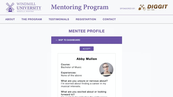 MentorEase mentee profile screenshot