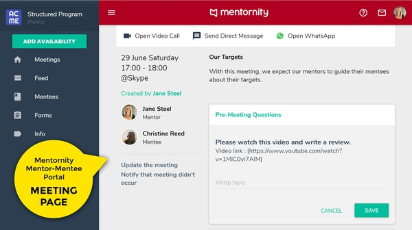 Mentornity Meeting Pages
