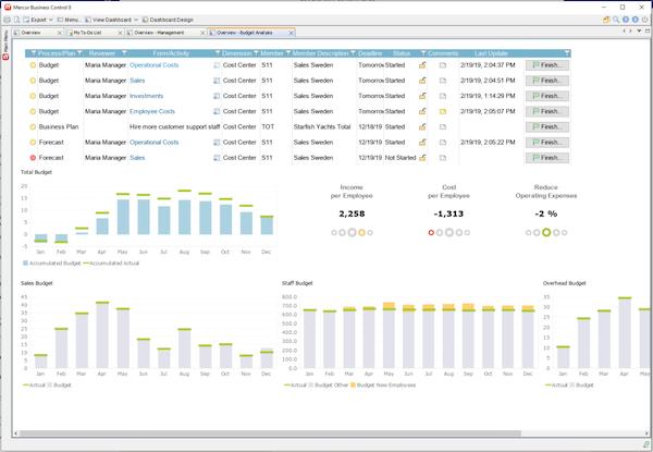 Mercur Business Control budget analysis