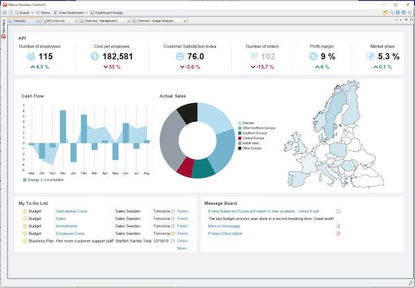 Mercur Business Control dashboard