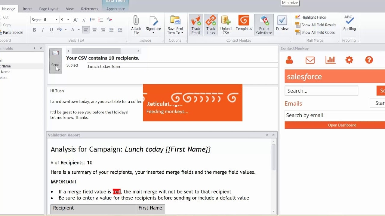 Merging mails with outlook