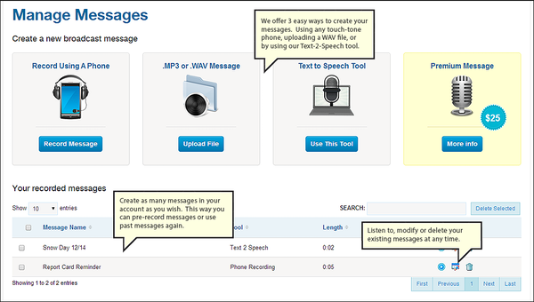 DialMyCalls messages dashboard screenshot