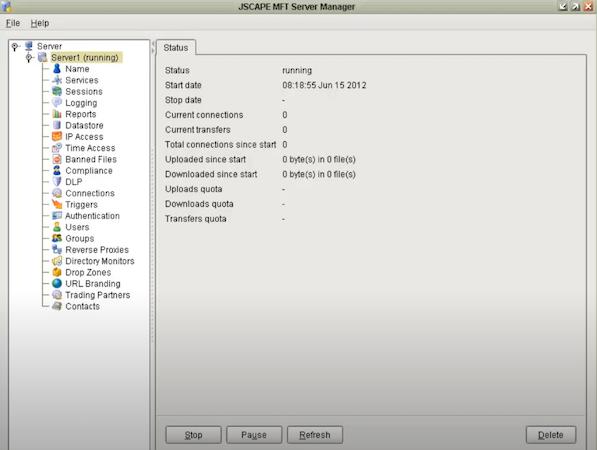MFT Server server manager