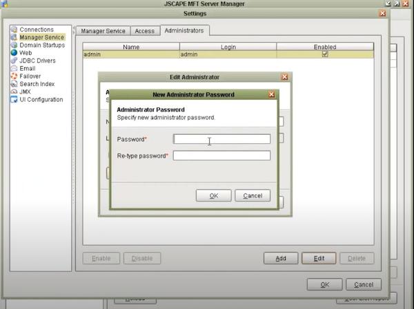 MFT Server add password