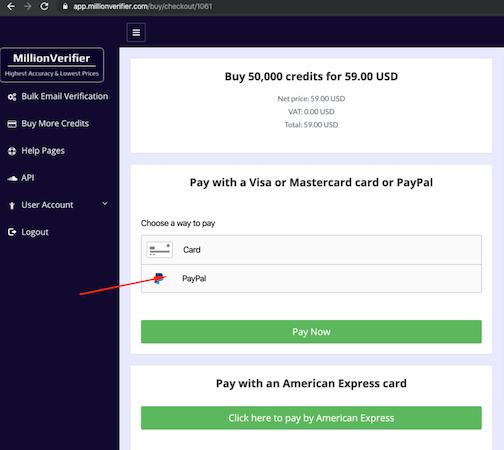 MillionVerifier online payments