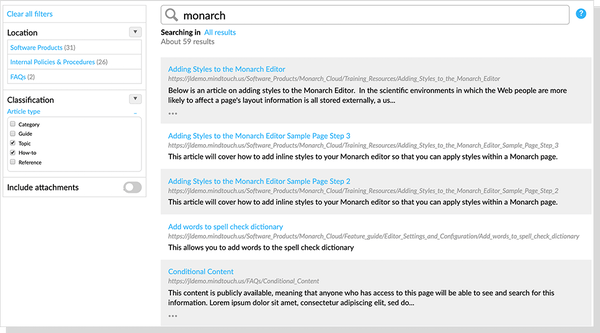 Mindtouch intelligent search