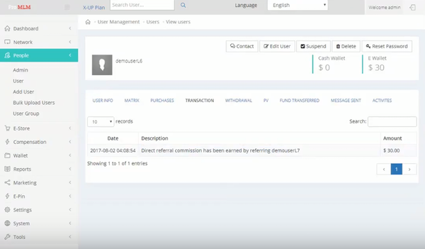Pro MLM user management