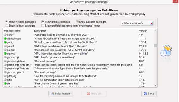 MobaXterm packages manager