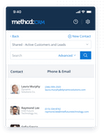 Method:CRM mobile app interface