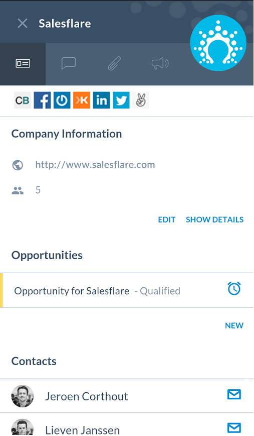 Salesflare - Mobile app interface