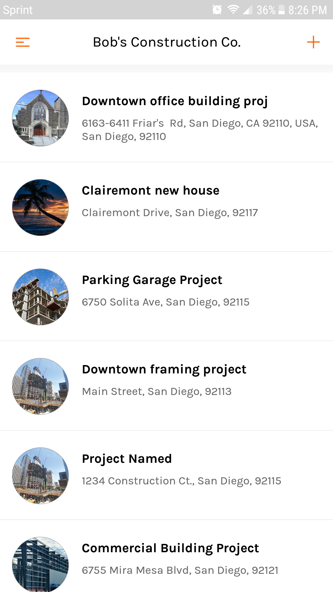Mobile project list