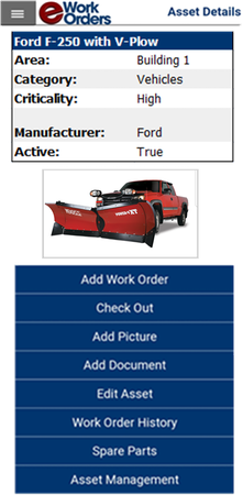 eWorkOrders Mobile Screen