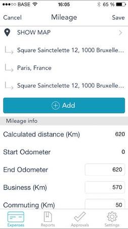 MobileXpense mileage tracker screenshot