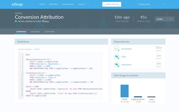 Etleap model overview screenshot