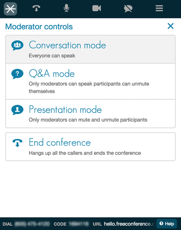 FreeConference moderator controls