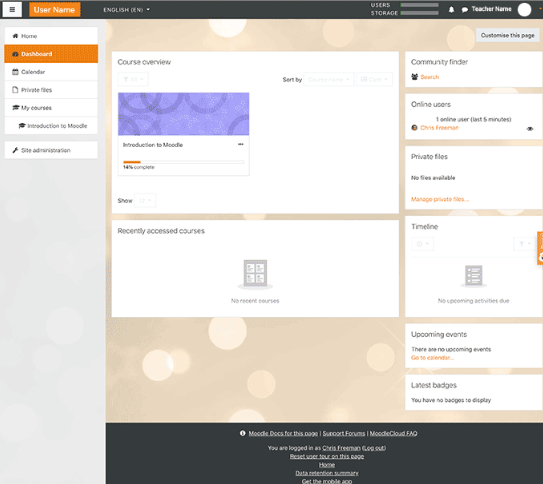 Moodle - Moodle dashboard