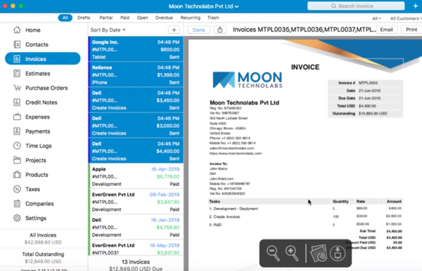 Moon invoice preview