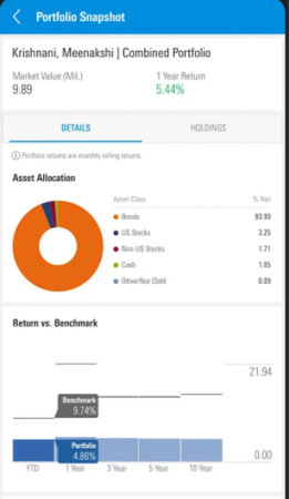 Morningstar Advisor Workstation client portfolio