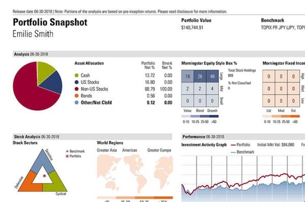 Morningstar Advisor Workstation portfolio snapshot