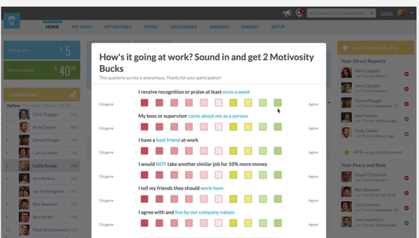 Motivosity pulse survey screenshot