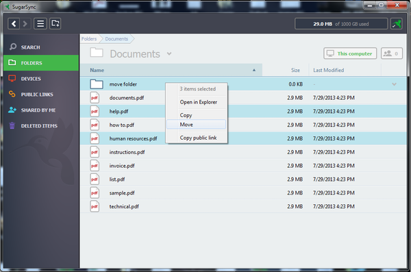 SugarSync moving folders
