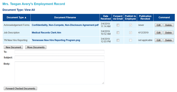 Employment record