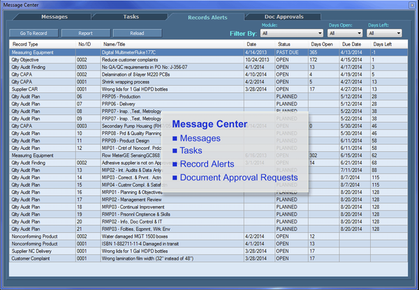 IMSXpress ISO 9001 message center screenshot