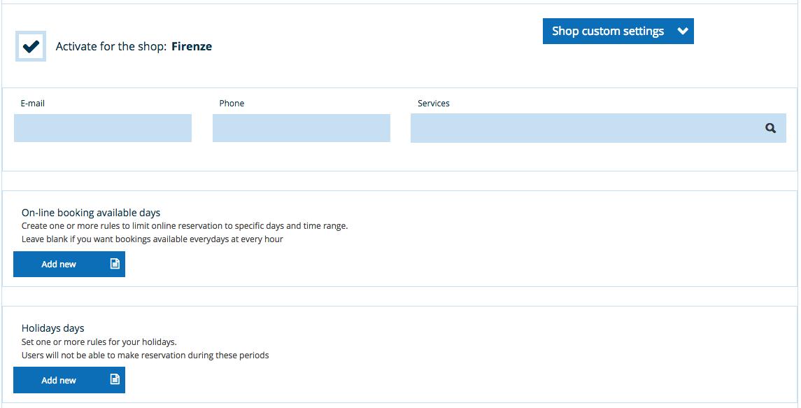 Custom shop settings