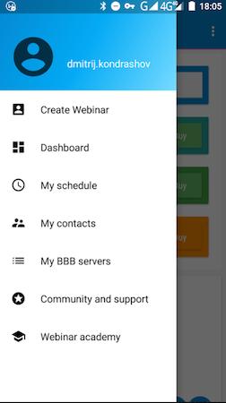 CreateWebinar navigation menu