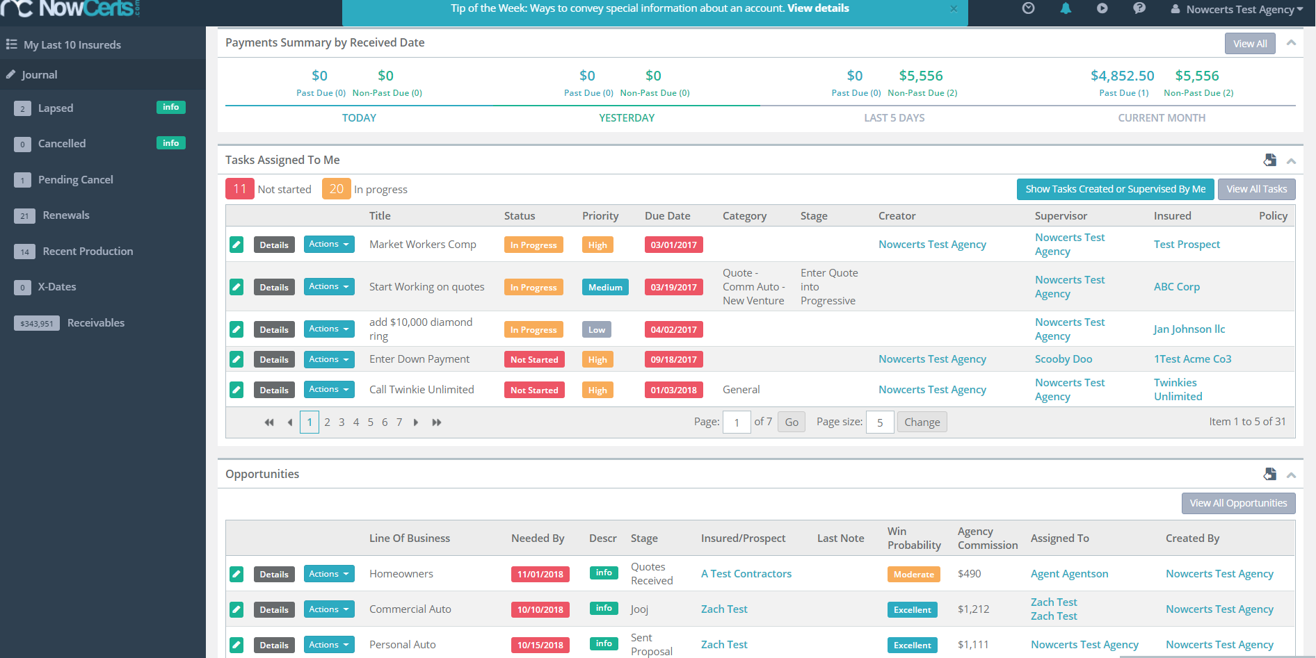 Task and Opportunity Dashboard