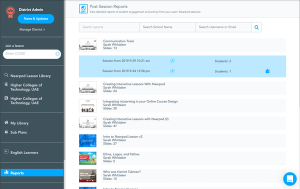 Nearpod post-session reports