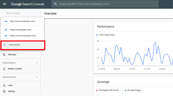 Google Search Console adding a property