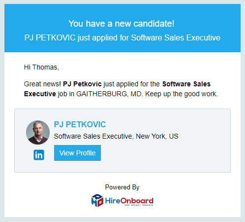 HireOnboard new candidate notification