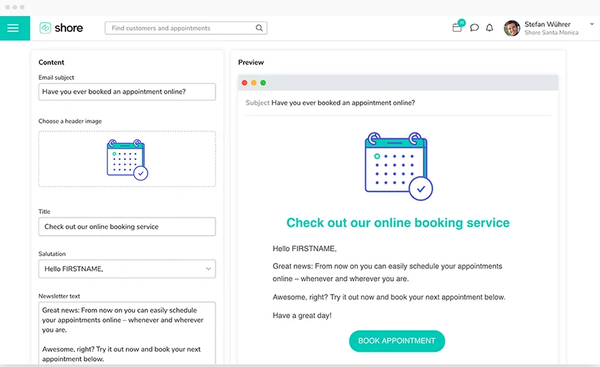 Shore Online Booking appointment preview
