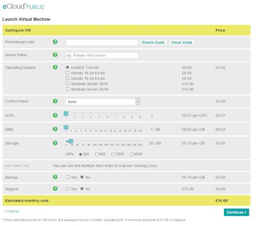 eCloud new virtual machine configuration