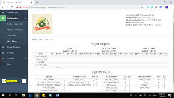Hotel Management System night report and statistics screenshot