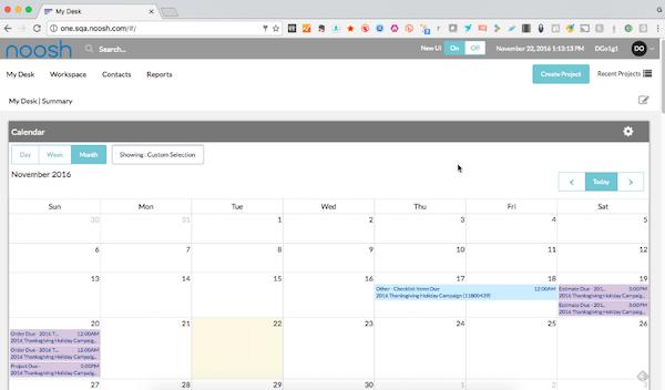 Noosh calendar